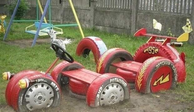 Гоночная машина - из старых шин