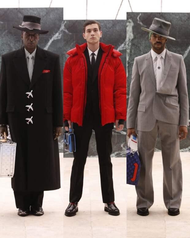 Сумка в виде самолета, мужская юбка, стальной костюм: показ Louis Vuitton, обзор