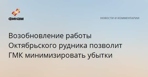 Возобновление работы Октябрьского рудника позволит ГМК минимизировать убытки