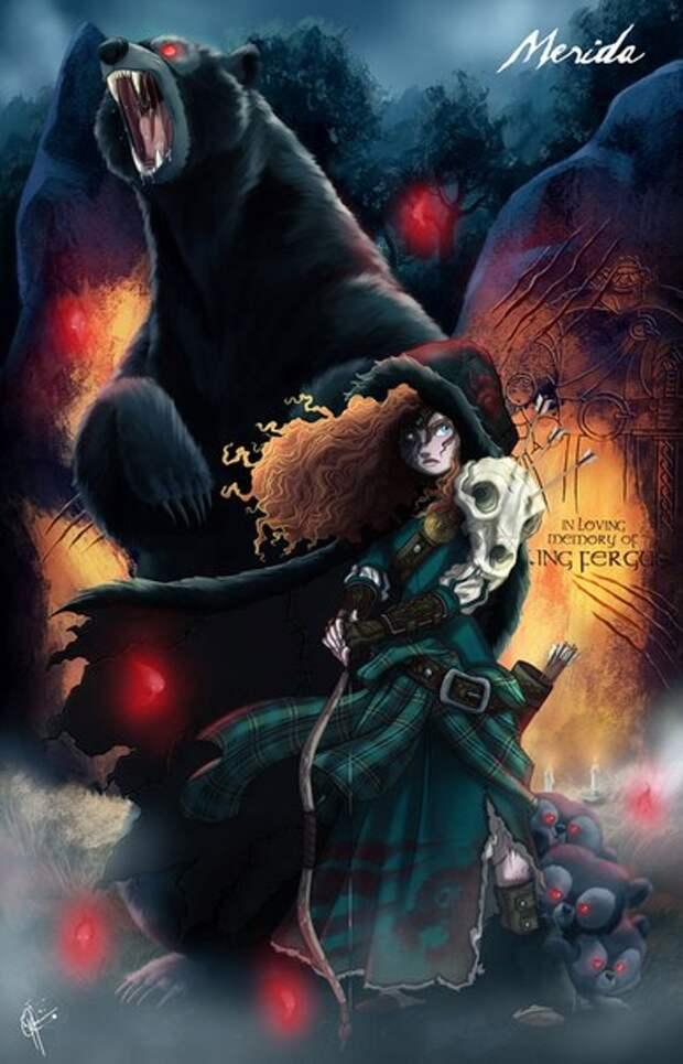 Диснеевские принцессы в образа монстров.