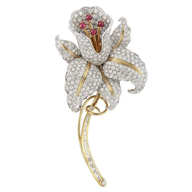 Two Color Gold, Diamond and Cabochon Ruby Flower