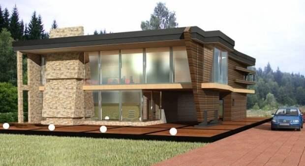 Современный дом обшитый деревянным планкеном с использование большого количества стекла на фасаде здания.