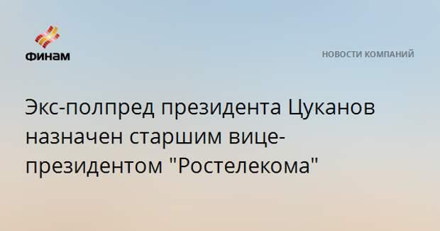 """Экс-полпред президента Цуканов назначен старшим вице-президентом """"Ростелекома"""""""