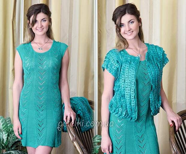 Платье и жакет спицами. Описание, схемы вязания