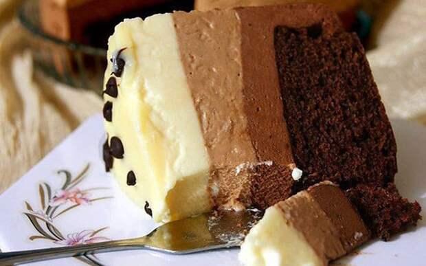 Торт Три шоколада. Молочный, горький и белый в одном десерте 2