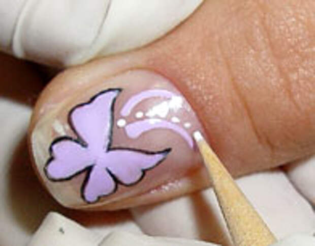 Как нарисовать бабочку на ногтях (8) (196x153, 26Kb)