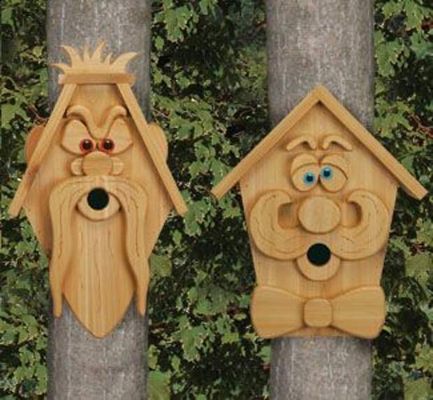 Cedar Men Birdhouse Plans - Woodcraft Patterns. Full sized trace & cut templates and instructions for easy construction.