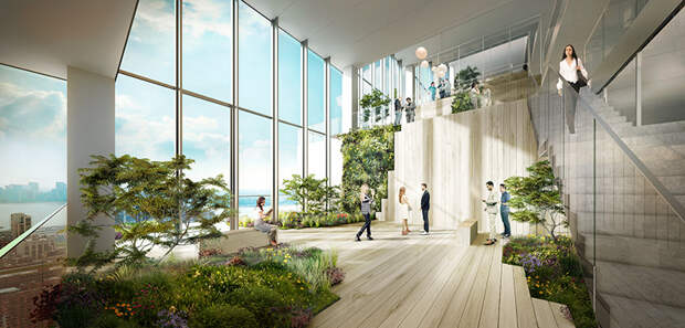 Проект бизнес-центра с каскадными террасами в Нью-Йорке