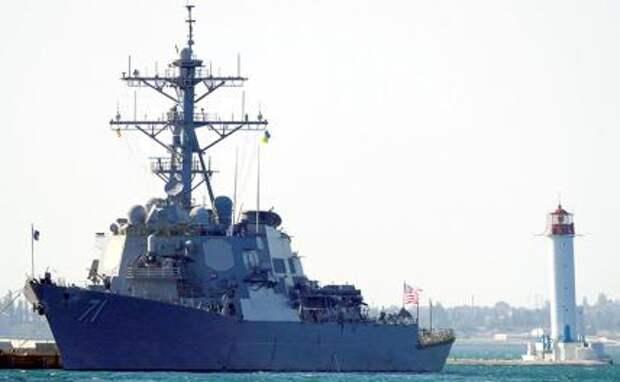 """На фото: американский эсминец Ross (""""Росс""""), прибывший для участия в многонациональных военных учениях Sea Breeze 2021"""