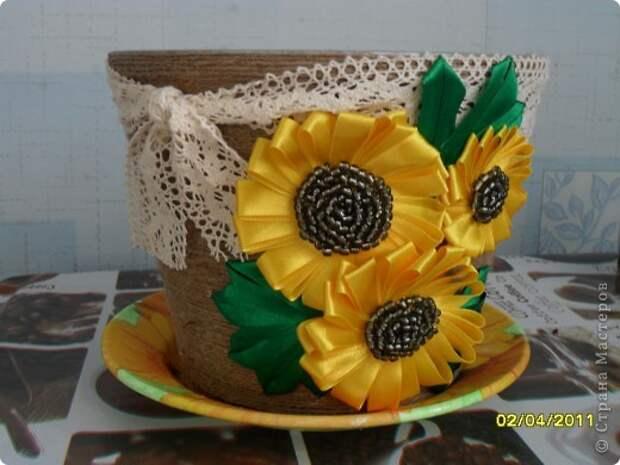 Своими руками мои работы Украшение цветочных горшков мастер класс, поделка