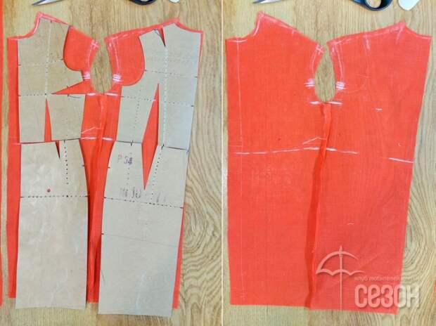 Потребуется выкройка основы платья. Преобразуем её в прямой силуэт и моделируем спущенное плечо.