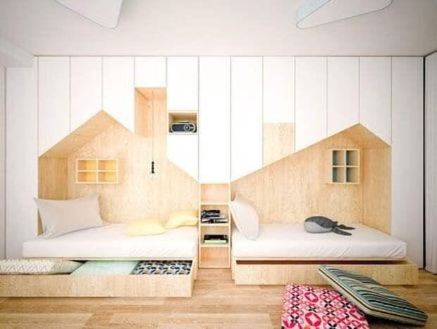 Домики самые разные и из любых материалов  в детских комнатах Предметы мебели, кровати, игрушки