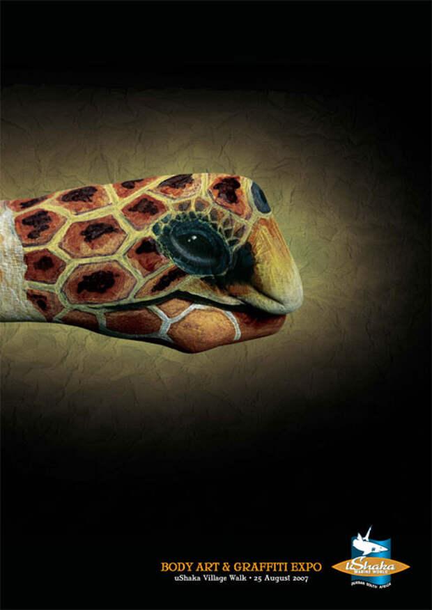 Чудеса боди-арта: рыбы вместо рук