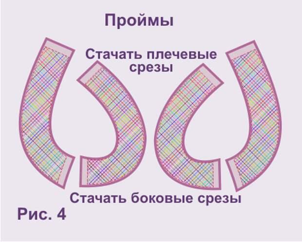 Обработка пройм и горловины обтачками