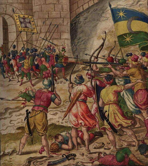 Иллюстрация из рукописи «Второй осады Диу». Изображены, правда, достаточно абстрактно, события 1546 года. Отряд португальцев, ходивший на вылазку, отступает в крепость под огнём луков и ружей «мавров» - Диу: финал осады | Warspot.ru