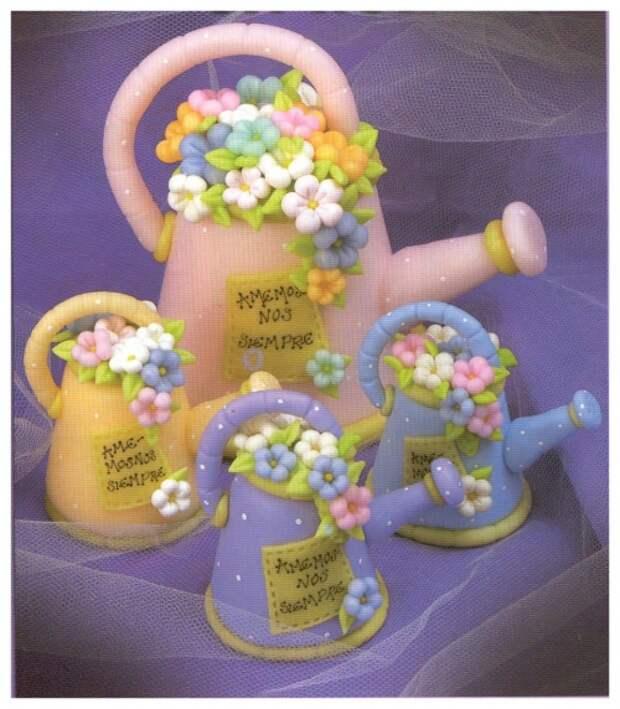 декоративные миниатюрные лейки из полимерной глины с цветами, пошаговый урок лепки, мастер-класс, мк, МК