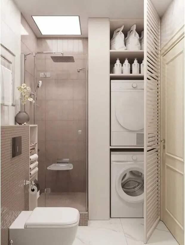Куда спрятать стиральную машину в ванной