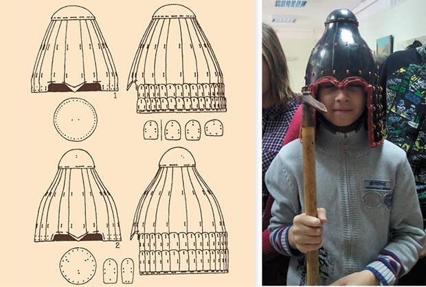 Шлем из могильника Лаохэшэнь (КНР). Прорисовка В. Горбунова. По: (Горбунов, 2005). Фото А. Грибакина