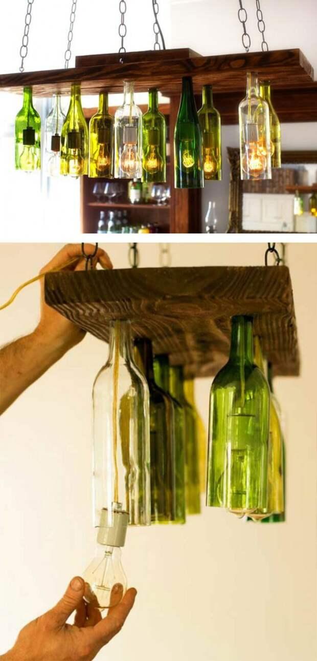 3. Светильник из старых винных бутылок винтаж, посуда, совет, хитрости