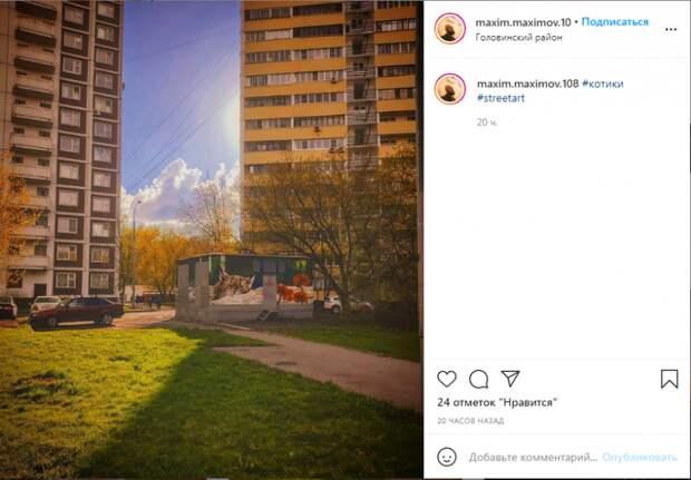 Фото дня: в Головинском появился кошачий стрит-арт