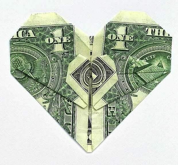 Оригами из денег - сердце