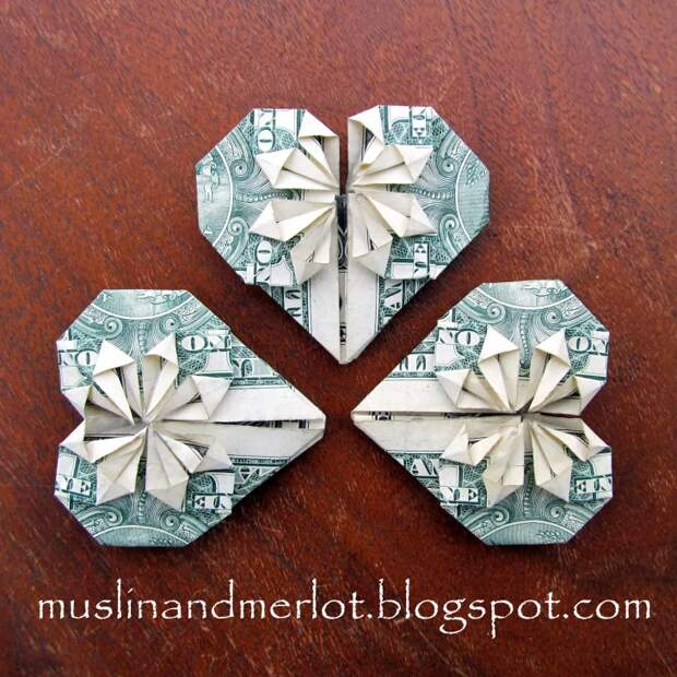 Сердечки из банкноты (Diy)