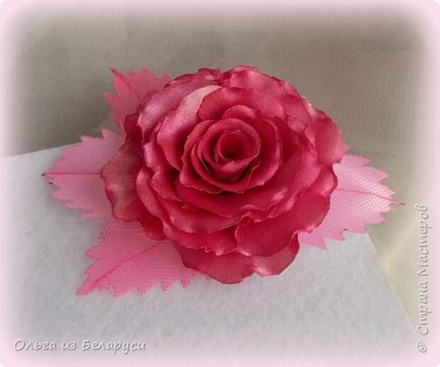 Мастер-класс Флористика искусственная Моделирование конструирование МК листка розы из фатина+роза из фатина Ленты фото 16