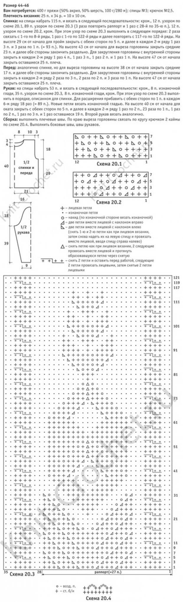 Выкройка, схемы узоров с описанием для вязания спицами женского пуловера с ажурами и косами 44-46 размера.