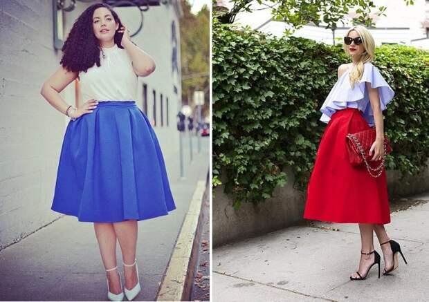 Расклешенная юбка длины миди подойдет женщинам с любым типом фигуры.