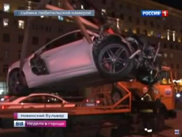 Суперкар Audi протаранил пять автомобилей в центре Москвы