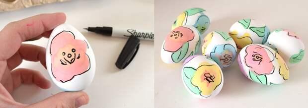 А некоторые пасхальные яйца можно украшать с помощью пищевых красок и маркера пасха, пасхальное яйцо