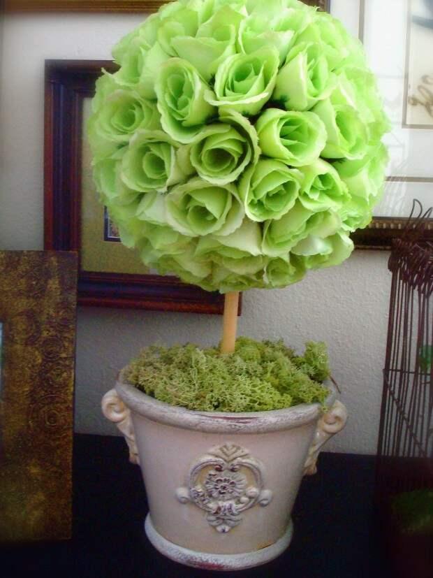 Топиар из зеленых роз