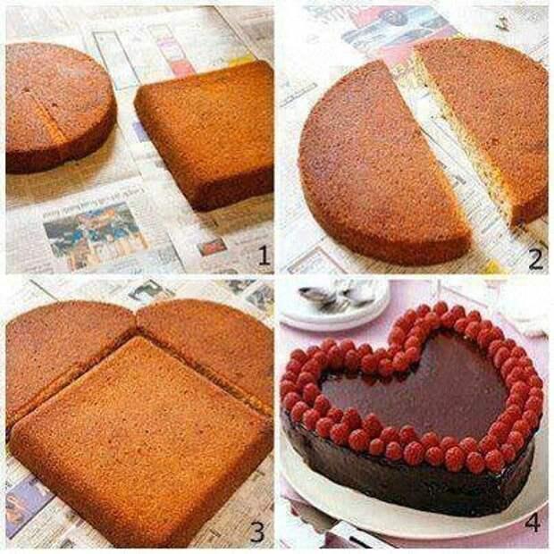 Торт в виде сердца - легко