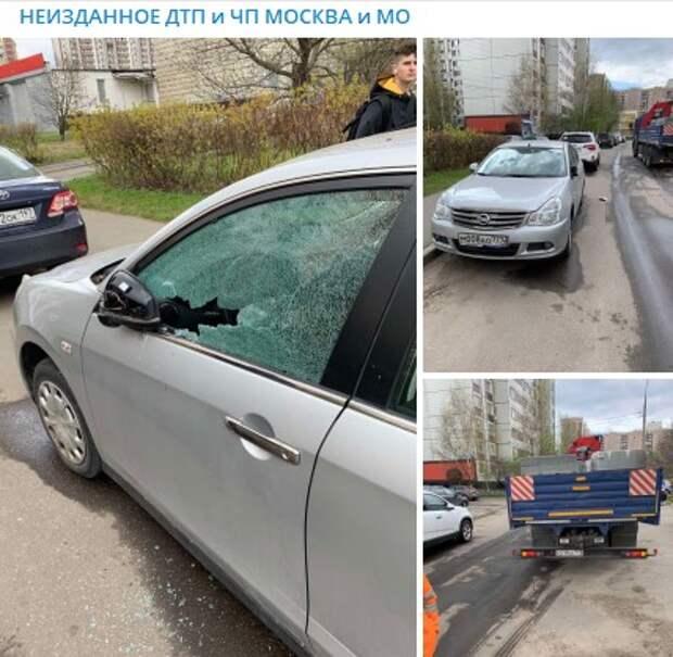 Грузовик задел припаркованную иномарку на Люблинской