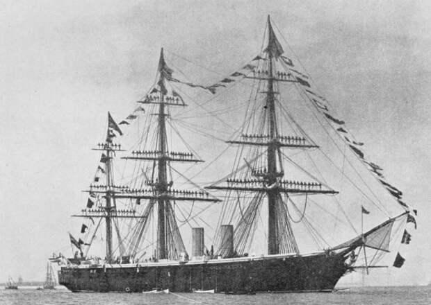 HMS_Black_Prince(1861)_Masts_Manned