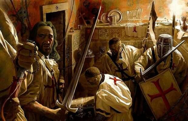 Рыцари Храма защищают Святой Грааль.  С картины художника. Фото из открытых источников
