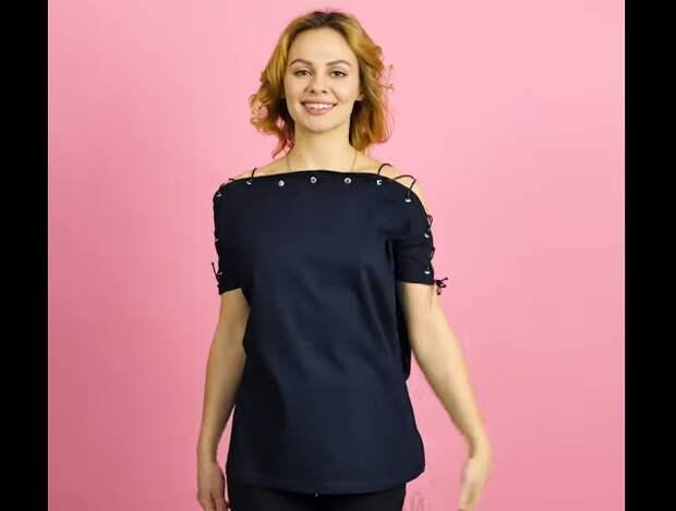 Переделка футболки в блузку (DIY)
