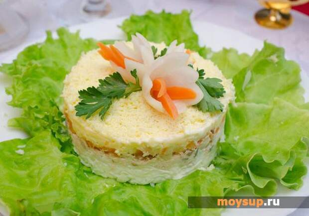 Салат «Мимоза» с тунцом и яблоками