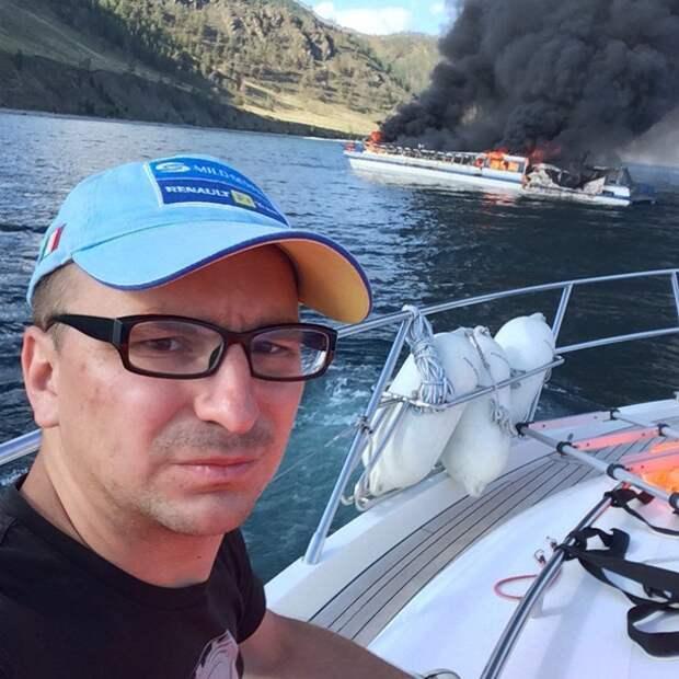 "На озере Байкал горит теплоход ""Баргузин"""