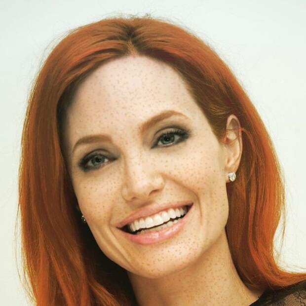 Анджелина Джоли веснушки, рыжие