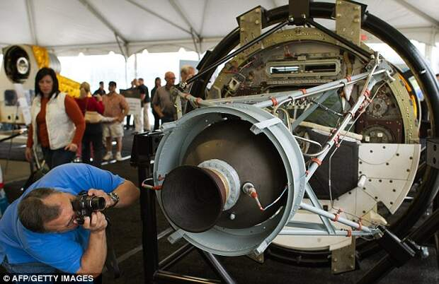 Space age: The engine at the rear of the ejectable film return vehicle from the HEXAGON KH-9 declassified reconnaissance satellite of the HEXAGON (KH-9) declassified reconnaissance satellite also known as Big Bird