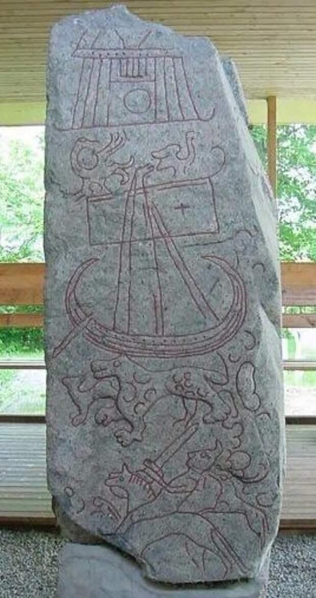 Изображение врат Вальхаллы на поясных накладках, найденных на Руси.