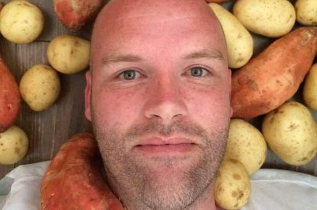 Так выглядит человек, который планирует есть только картошку целый год. америка, диета, картофель, проект
