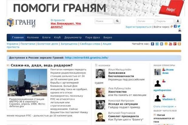 Грани.ру, kasparov.ru, ej.ru. Причина: все три сайта были заблокированы в тот же день, когда Роскомнадзор и Генпрокуратура впервые закрыли доступ к блогу Навального, 13 марта 2014 года, — «за призывы к противоправной деятельности и участию в массовых мероприятиях, проводимых с нарушением установленного порядка».