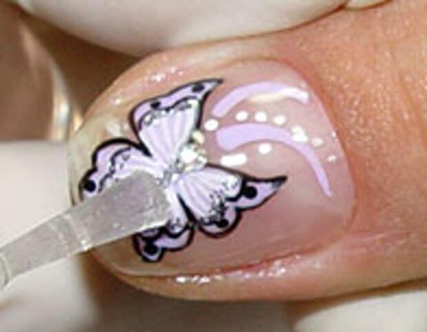 Как нарисовать бабочку на ногтях (21) (196x153, 26Kb)