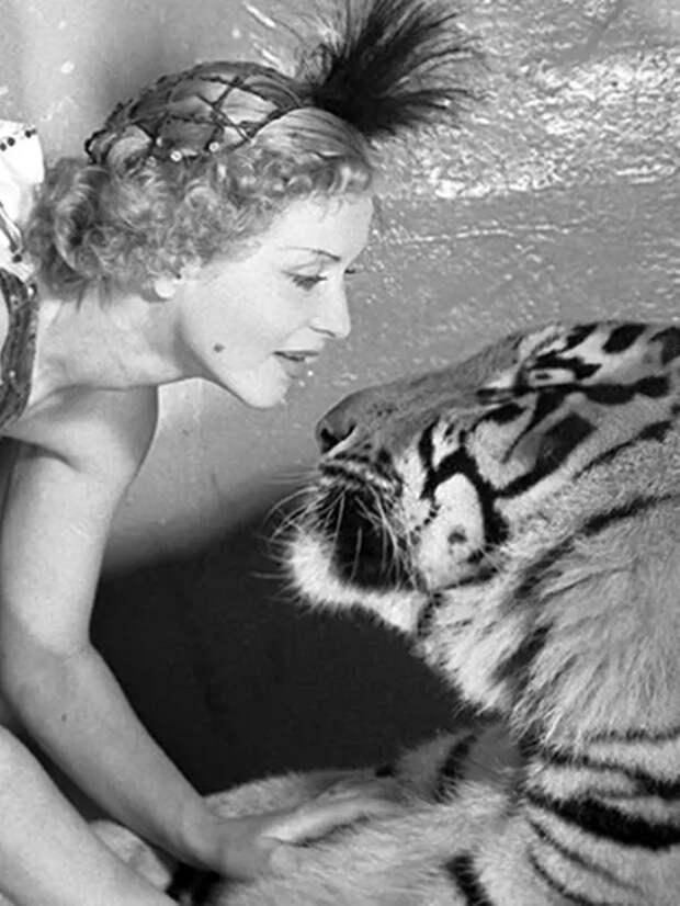 Маргарита Назарова с тигром Пуршем.