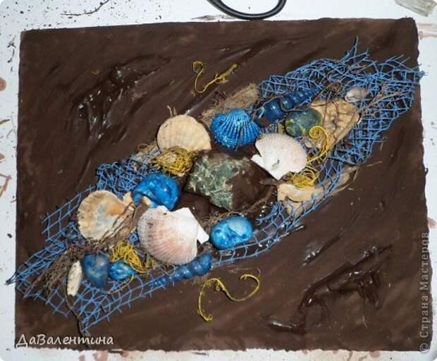 Картина панно рисунок Мастер-класс Коллаж Коллаж в технике терра Мастер-класс Морское дно с креветками Материал природный фото 9