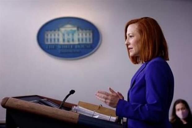 White House Press Secretary Jen Psaki delivers remarks during a daily press briefing at the White House in Washington, U.S., March 8, 2021. REUTERS/Tom Brenner