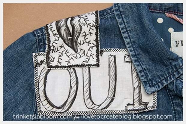 """Рисованные """"заплатки"""" на джинсовой рубашке"""