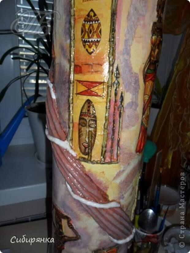 Добрый день, Страна Мастеров!!! Как и обещала, покажу некоторые промежуточные фотографии  процесса изготовления напольной вазы с африканскими мотивами. . Фото 15